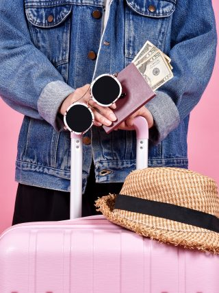 Traveler holding pink suitcase, Passenger and passport document